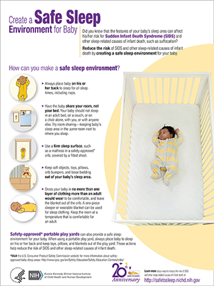 Create a safe sleep environment to prevent sudden infant death syndrome